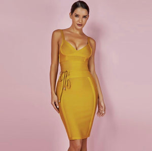 Mustard Tie Bodycon Dress