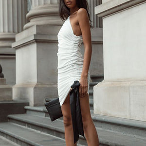 White & Black Ruched Dress