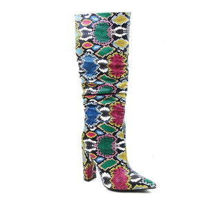 Multicolored Snakeskin Boots