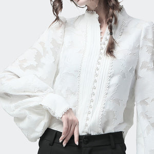 Lace Button Blouse (Available in 2 colors)