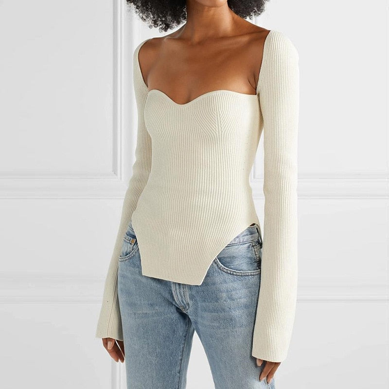 Square Neck Knit (comes in black & white)