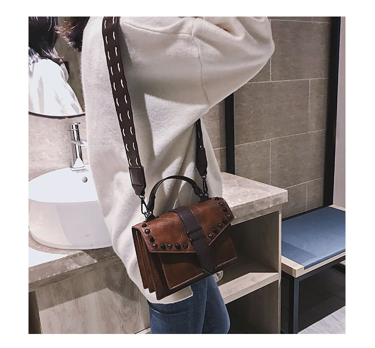 Wide Strap Satchel Cross Body Bag