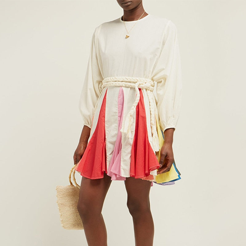 Color Block Puff Sleeve Dress