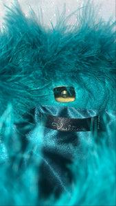 Teal Feather Purse with Gold Chain