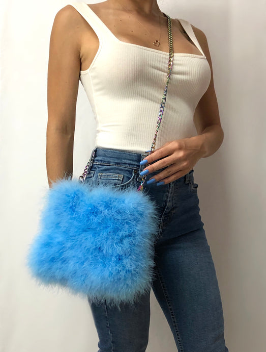 Sky Blue Feather Purse with Iridescent Chain