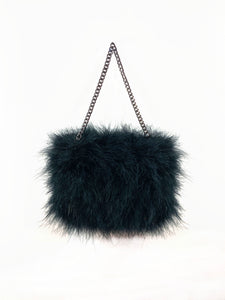 Marabou Mini - Black feather purse