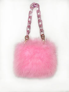 Marabou Mini - Candy Pink feather purse