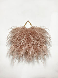 Rose Tan Mini Ostrich Feather Handbag