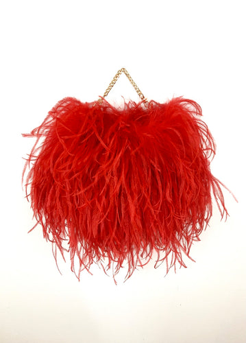 Red Ostrich Feather Handbag Full Size