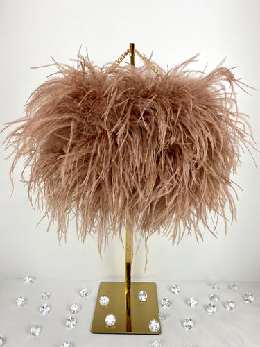 Rose Tan Ostrich Feather Handbag Full Size