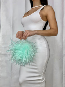 Mint Mini Ostrich Feather Handbag