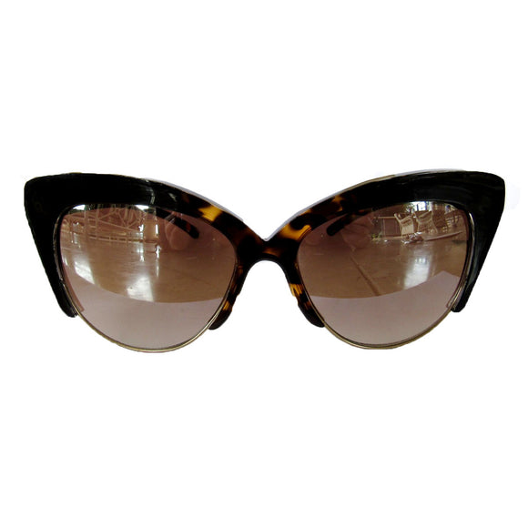 Medium Cat Eye Turtle Print and Black Coloured Sunglasses w/ Silver Mirrored Lenses