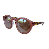 Round Light Pink Coloured Sunglasses w/ Turtle Print Arms