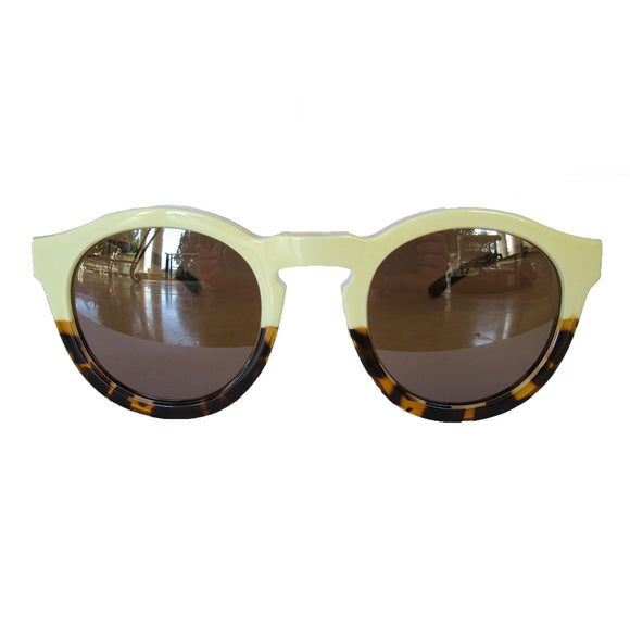 Round Turtle Print and Ivory Bicolored Sunglasses w/Silver Mirrored Lenses