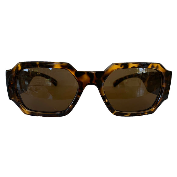 Rectangular Turtle Print Sunglasses w/ Brown Lenses