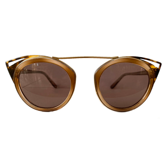 Round Honey Coloured Suglasses w/ Cat Eye Turtle Print Detail and Brown Lenses