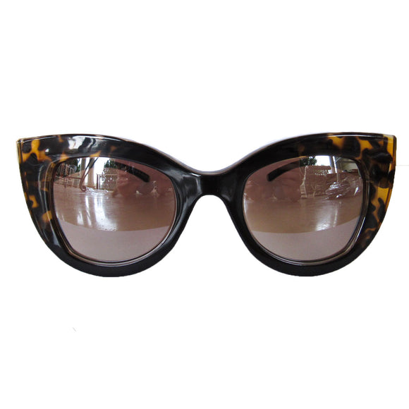 Large Cat Eye Black Coloured Sunglasses w/ Silver Mirrored Lenses