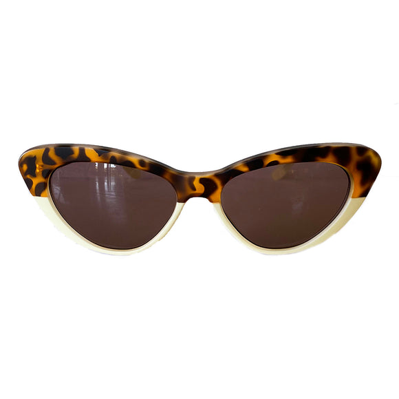 Small Animal Print and Ivory Coloured Cat Eye Style Sunglasses w/ Hazel Lenses