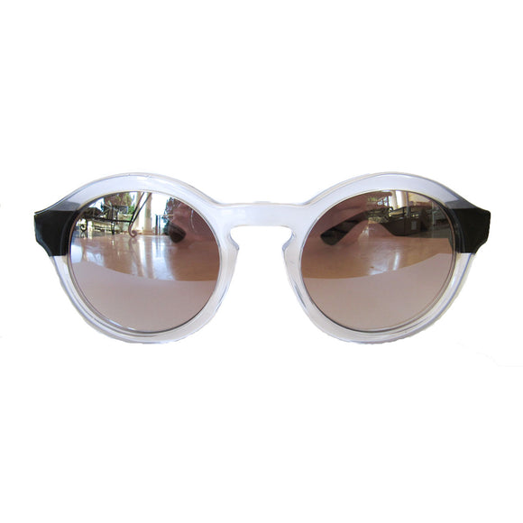 Round Small Sized Pearly Coloured Sunglasses w/ Black Arms