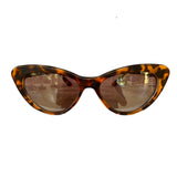 Small Turtle Print Cat Eye Style Sunglasses w/ Silver Mirrored Lenses
