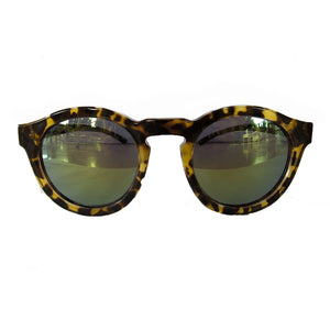 Round Turtle Print  Sunglasses w/ Green Mirrored Lenses