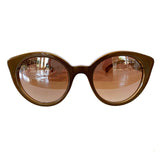 Round Cat Eye Bronze Coloured Sunglasses w/ Silver Mirrored Lenses