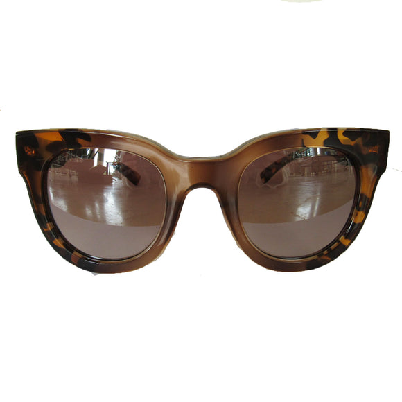 Square Turtle Print and Honey Coloured Sunglasses w/ Silver Mirrored Lenses