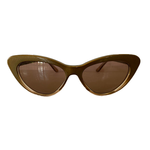 Small Bronze Coloured Cat Eye Style Sunglasses w/ Hazel Lenses