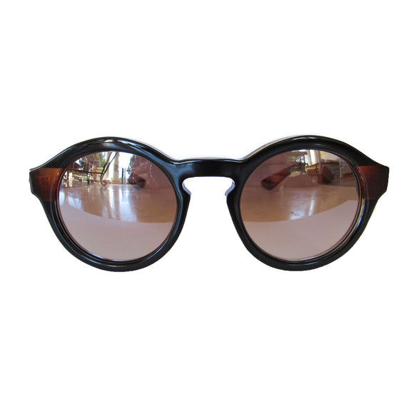 Round Black Small Sized Sunglasses w/ Caramel Arms and Silver Mirrored Lenses