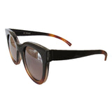 Small Square Black and Caramel Coloured Sunglasses w/ Silver Mirrored Lenses