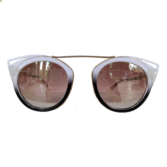 Round Pearly and Black Coloured Suglasses w/ Cat Eye Detail