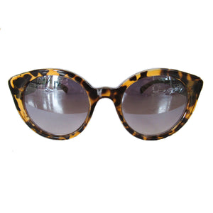 Round Cat Eye Turtle Print Sunglasses w/ Green Arms and Silver Mirrored Lenses