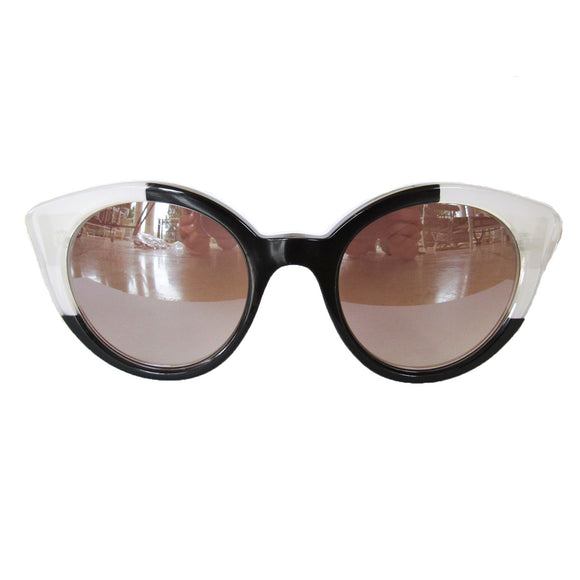 Round Cat Eye Black and Pearly Coloured Sunglasses w/ Silver Mirrored Lenses