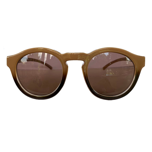 Round Nude and Brown Coloured Sunglasses w/ Hazel Lenses