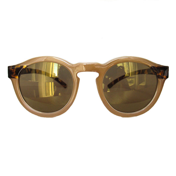Round Nude Coloured Sunglasses w/ Turtle Print Arms and Golden Lenses