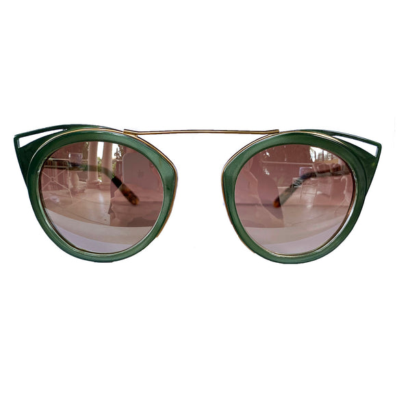 Round Green Coloured Suglasses w/ Cat Eye Detail