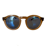 Round Nude Coloured Sunglasses w/ Turtle Print Arms and Blue Lenses