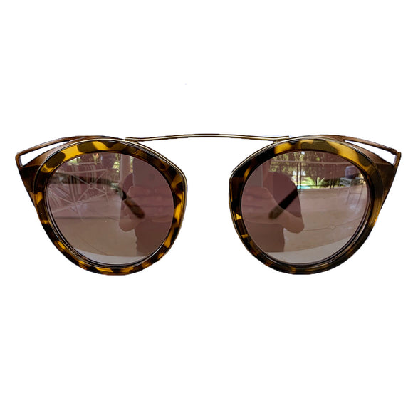 Round Turtle Print Suglasses w/ Cat Eye Honey Coloured Detail