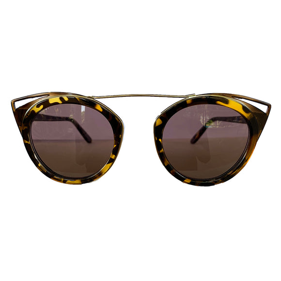 Round Turtle Print Suglasses w/ Cat Eye Honey Coloured Detail and Brown Lenses
