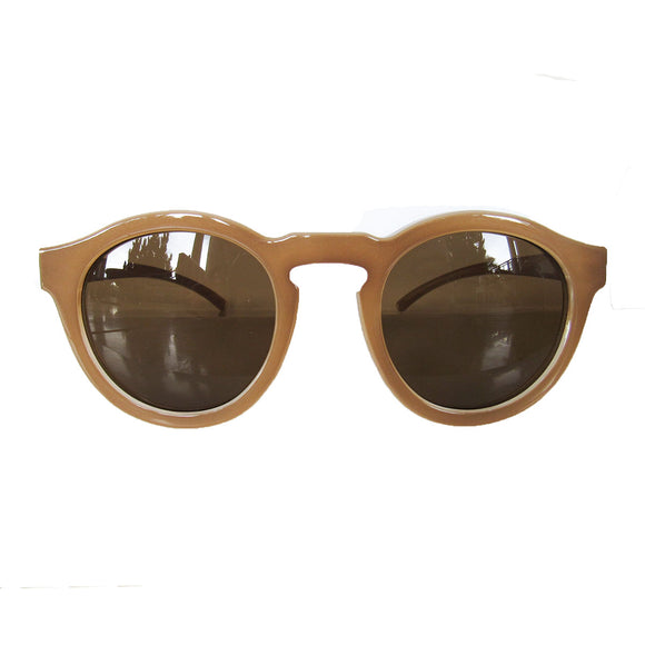 Round Nude Coloured Sunglasses w/ Brown Lenses