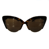Medium Cat Eye Turtle Print and Black Coloured Sunglasses w/ Brown Lenses