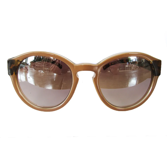 Large Round Nude Coloured Sunglasses w/ Turtle Print Arms and Silver Mirrored Lenses
