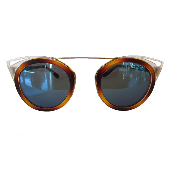 Round Caramel Coloured Sunglasses w/ Cat Eye Detail and Blue Lenses
