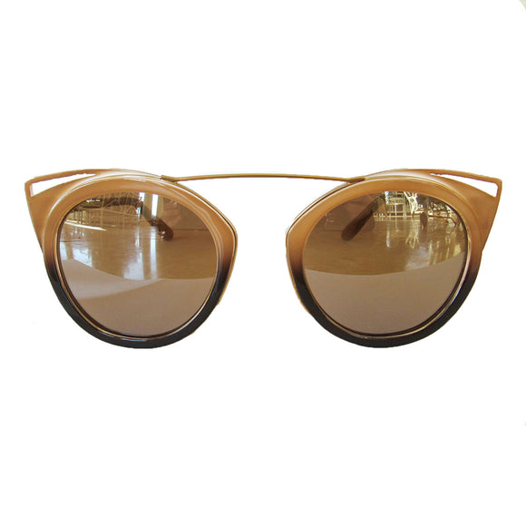 Round Nude and Brown Coloured Sunglasses w/ Cat Eye Detail