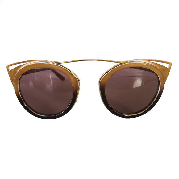 Round Nude and Brown Coloured Sunglasses w/ Cat Eye Detail and Brown Lenses