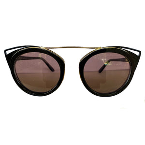 Round Black Coloured Suglasses w/ Cat Eye Detail and Brown Lenses