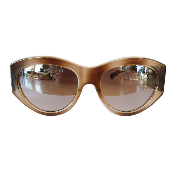 Mask Style Honey Coloured Sunglasses w/ Wooden Pattern Arms and Silver Mirrored Lenses