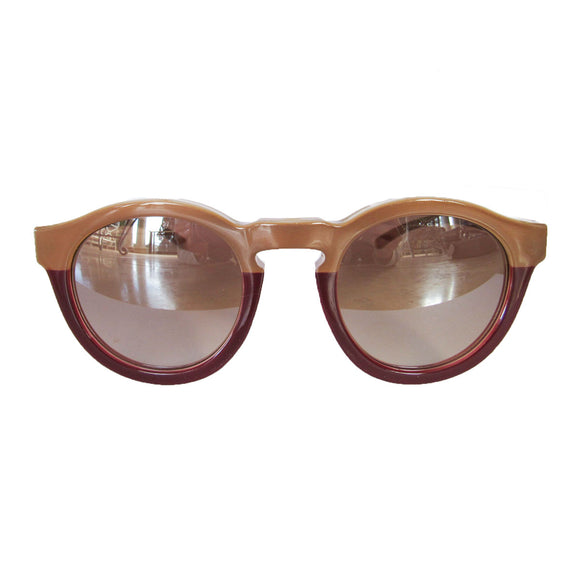 Round Nude and Burgundy Coloured Sunglasses w/ Silver Mirrored Lenses