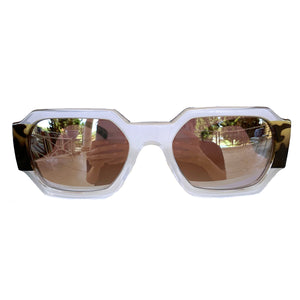 Rectangular Pearly Coloured Sunglasses w/ Silver Mirrored Lenses and Turtle Print Arms
