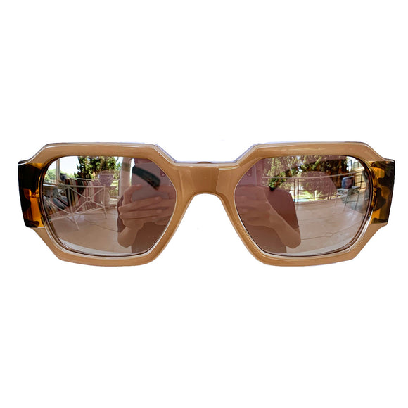 Rectangular Nude Coloured Sunglasses w/ Silver Mirrored Lenses